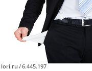 Купить «Businessman Showing Empty Pocket», фото № 6445197, снято 11 мая 2014 г. (c) Андрей Попов / Фотобанк Лори