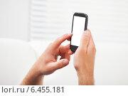 Купить «Hands Using Smart Phone With Blank Screen», фото № 6455181, снято 12 июня 2014 г. (c) Андрей Попов / Фотобанк Лори