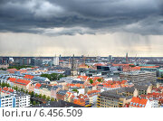 Купить «The bird's eye view from the Church of Our Saviour with the rain over Copenhagen.», фото № 6456509, снято 22 августа 2014 г. (c) Serg Zastavkin / Фотобанк Лори
