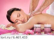 Купить «Woman Receiving Back Massaging In Spa», фото № 6461433, снято 27 апреля 2014 г. (c) Андрей Попов / Фотобанк Лори