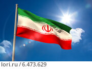 Купить «Iran national flag on flagpole», фото № 6473629, снято 21 января 2019 г. (c) Wavebreak Media / Фотобанк Лори