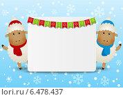 Купить «Веселые овечки - символ нового 2015 года на зимнем фоне со снежинками», иллюстрация № 6478437 (c) Евгения Малахова / Фотобанк Лори
