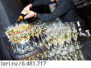 Купить «Waiter bartender pouring wine at party», фото № 6481717, снято 25 сентября 2014 г. (c) Дмитрий Калиновский / Фотобанк Лори