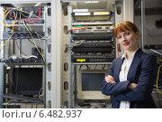 Купить «Pretty computer technician smiling at camera beside server», фото № 6482937, снято 6 июня 2014 г. (c) Wavebreak Media / Фотобанк Лори
