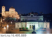 Купить «The Bulgarian Parliament building at night, Sofia, Bulgaria», фото № 6495889, снято 26 сентября 2005 г. (c) Caro Photoagency / Фотобанк Лори