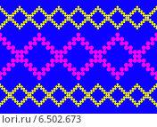 Бесшовный узор с розовыми и желтыми ромбами на синем фоне. Стоковая иллюстрация, иллюстратор Анна Яковлева / Фотобанк Лори