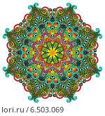 Купить «Круглый красочный растительный орнамент», иллюстрация № 6503069 (c) Олеся Каракоця / Фотобанк Лори