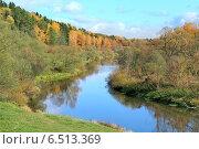 Купить «Осенний пейзаж.  Река Нара», фото № 6513369, снято 4 октября 2014 г. (c) Татьяна Белова / Фотобанк Лори