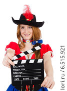 Купить «Woman pirate with movie board», фото № 6515921, снято 3 февраля 2014 г. (c) Elnur / Фотобанк Лори
