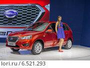 Купить «Datsun mi-Do на Московском международном автосалоне 2014 года», фото № 6521293, снято 3 сентября 2014 г. (c) Алексей Назаров / Фотобанк Лори