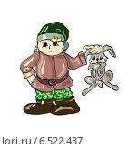 Охотник с зайцем. Стоковая иллюстрация, иллюстратор ElenaGumerova / Фотобанк Лори