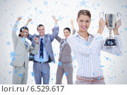 Купить «Close up of a woman holding a cup with people dressed in suits acclaiming», фото № 6529617, снято 27 марта 2019 г. (c) Wavebreak Media / Фотобанк Лори