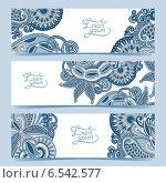 Купить «Набор баннеров с декоративным цветочным узором», иллюстрация № 6542577 (c) Олеся Каракоця / Фотобанк Лори