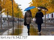 Купить «Люди гуляют по Крымской набережной во время осеннего дождя в городе Москве, Россия», фото № 6542737, снято 12 октября 2014 г. (c) Николай Винокуров / Фотобанк Лори