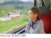 Купить «Мальчик путешествует в поезде и смотрит в окно», фото № 6547345, снято 24 июня 2014 г. (c) Юлия Кузнецова / Фотобанк Лори
