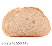 Купить «Hunk or slice of fresh white bread isolated on white background cutout», фото № 6550145, снято 24 апреля 2014 г. (c) Natalja Stotika / Фотобанк Лори