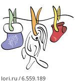 Рождественские украшения на прищепках. Заяц и носки висят на веревке. Стоковая иллюстрация, иллюстратор ElenaGumerova / Фотобанк Лори