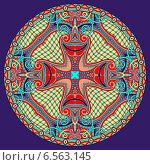 Купить «Декоративный круглый разноцветный узор на синем фоне», иллюстрация № 6563145 (c) Олеся Каракоця / Фотобанк Лори