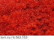 Купить «Красная икра (икра лососевая). Фокус в центре», эксклюзивное фото № 6563153, снято 2 июля 2012 г. (c) А. А. Пирагис / Фотобанк Лори