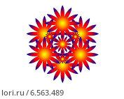 Узор с фиолетовой окантовкой в оранжево-желтых тонах. Стоковая иллюстрация, иллюстратор Анна Яковлева / Фотобанк Лори