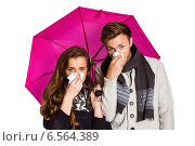 Купить «Couple blowing nose while holding umbrella», фото № 6564389, снято 27 июня 2014 г. (c) Wavebreak Media / Фотобанк Лори