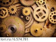 Купить «Стимпанк фон, шестерни на старой металлической поверхности», фото № 6574781, снято 2 октября 2014 г. (c) Оксана Ковач / Фотобанк Лори