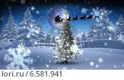 Купить «Santa and his sleigh flying over snowy christmas tree», видеоролик № 6581941, снято 23 августа 2019 г. (c) Wavebreak Media / Фотобанк Лори