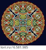 Купить «Декоративный круглый узор на темном фоне», иллюстрация № 6581985 (c) Олеся Каракоця / Фотобанк Лори