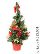 Декоративная новогодняя елка в красном ведре. Стоковое фото, фотограф Винокуров Александр / Фотобанк Лори