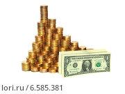 Купить «Монеты и долларовые купюры. Рост курса доллара», эксклюзивное фото № 6585381, снято 8 февраля 2013 г. (c) Юрий Морозов / Фотобанк Лори