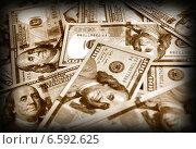 Купить «Американские доллары, сепия», фото № 6592625, снято 7 августа 2013 г. (c) ElenArt / Фотобанк Лори