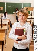 Купить «Портрет школьницы в полупустом классе», фото № 6598205, снято 20 октября 2014 г. (c) Владимир Мельников / Фотобанк Лори