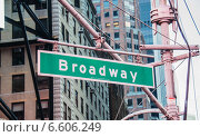 Купить «Street sign on Broadway on bright day», фото № 6606249, снято 22 декабря 2013 г. (c) Elnur / Фотобанк Лори