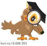 Купить «Нарисованная сова смотрит через лупу», иллюстрация № 6606353 (c) Алексей Григорьев / Фотобанк Лори