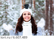 Happy woman with a cup of hot tea on her head. Стоковое фото, фотограф Nobilior / Фотобанк Лори