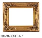 Золотистая фото рамка на белом фоне. Стоковое фото, фотограф Vladnad / Фотобанк Лори