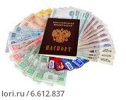 Паспорт и валюта разных стран (2014 год). Редакционное фото, фотограф Мария Деркунская / Фотобанк Лори