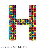 Купить «Разноцветная буква H в стиле диско на белом фоне», иллюстрация № 6614353 (c) Евгений Ткачёв / Фотобанк Лори