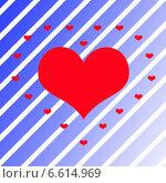 Красное сердце на синем фоне. Стоковая иллюстрация, иллюстратор Анна Яковлева / Фотобанк Лори