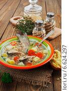 Купить «Суп из речной рыбы с перловкой в тарелке», фото № 6624297, снято 4 ноября 2014 г. (c) Надежда Мишкова / Фотобанк Лори