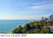 Купить «Вид на Черное море и морской порт Сочи», фото № 6631897, снято 10 сентября 2014 г. (c) Александр Замараев / Фотобанк Лори