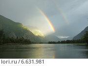 Двойная радуга в долине горного Алтая. Стоковое фото, фотограф Анатолий Хвисюк / Фотобанк Лори