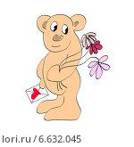 Медведь держит открытку и цветы. Стоковая иллюстрация, иллюстратор ElenaGumerova / Фотобанк Лори
