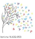 Дерево и летящие разноцветные листья. Стоковая иллюстрация, иллюстратор ElenaGumerova / Фотобанк Лори