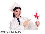 Купить «Young male student graduated from high school on white», фото № 6642921, снято 3 декабря 2013 г. (c) Elnur / Фотобанк Лори