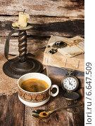 Купить «Натюрморт с кофе в винтажном стиле», фото № 6647509, снято 10 ноября 2014 г. (c) Наталья Осипова / Фотобанк Лори