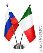 Купить «Маленькие флаги Италии и России на подставке», иллюстрация № 6659973 (c) Илья Урядников / Фотобанк Лори