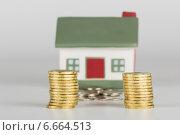 Купить «Две стопки желтых монет на фоне дома», эксклюзивное фото № 6664513, снято 11 ноября 2014 г. (c) Юрий Шурчков / Фотобанк Лори