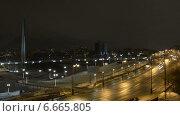 Ночной таймлапс в Тюмени, мост влюбленных. Стоковое видео, видеограф Андрей Доможиров / Фотобанк Лори