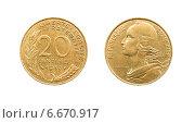 Купить «Монета 20 сантимов. Франция. 1989 год», фото № 6670917, снято 28 января 2014 г. (c) Евгений Ткачёв / Фотобанк Лори